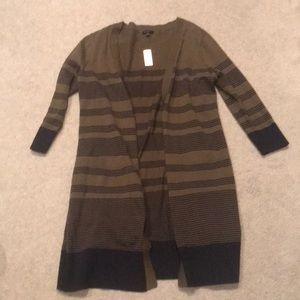 NWT Talbots Open Green Striped Sweater